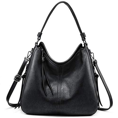 Handtaschen Damen Lederimitat Umhängetasche Designer Taschen Hobo Taschen groß Mit Quasten Schwarz -