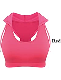 CICIYOUSE Womens Running Chaleco con Capucha Sujetador Deportivo Corsés Acolchados Gimnasio Sports Womens Tank Tops Bodybuilding Fitness Camisa Red M