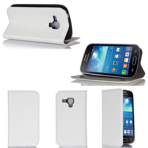 Custodia Ultra sottile in pelle Style Samsung Galaxy Trend Plus S7580 bianco con supporto - accessorio per smartphone 2014 Galaxy Trend Plus Flip Cover (custodia folio PU cuoio, bianco) - Brand posizionamento verticale