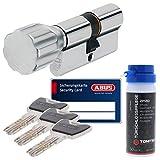 ABUS Sicherheitsschloss Schließzylinder als Knaufzylinder Profilzylinder XP20 KXP20S mit Sicherungskarte 30/30K und ToniTec Pflegespray