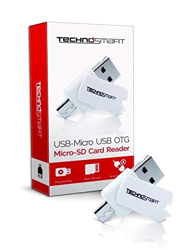 TECHNOSMART Micro-USB-Kartenleser OTG-Adapter (tragbar, für SDHC, SD, Micro-SD, Micro-SDHC-Karte) Keine Stromversorgung nötig, Plug & Play FlashCard-Leser für Android Windows und Mac OS (Blackberry-media-karte)