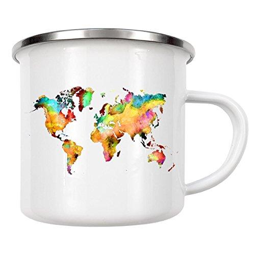 "artboxONE Emaille Tasse ""World map 77 color"" von Justyna Jaszke - Emaille Becher Kartografie"