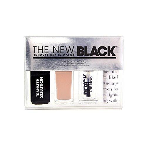 Le nouveau noir Typographie Journal Journal Hebdomadaire Nail Art – Lot de 3