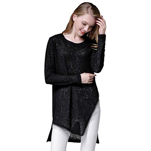 ZKOO Femme Longue Section Pulls Tricotés Cou Rond Manches Longues Hem Bifurcation Tassel Pull Noir