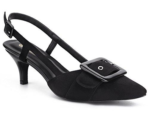 MaxMuxun Damen Klassische Slingback Schnalle Sandalen Elegant High Heel Pumps Schwarz Größe 39 EU