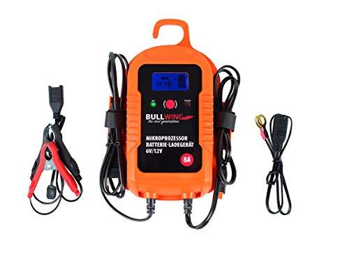 Bullwing BL7.0 - vollautomatisches universal Batterieladegerät, 6V / 12V / 8A, Display Digital, Orange, 205 x 115 x 60 mm