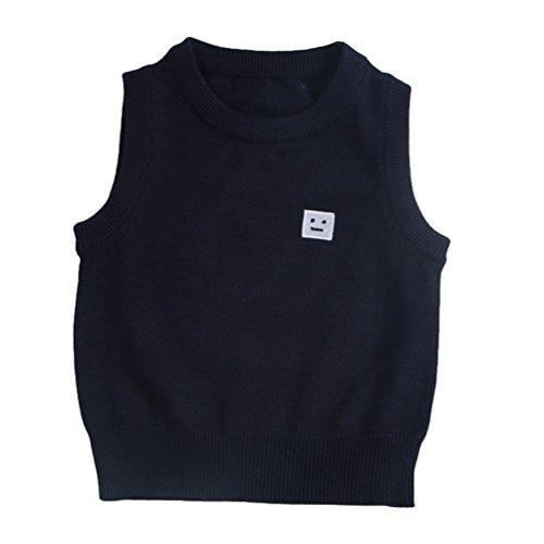 CHENGYANG Baby Ärmelloser Pullover Weste Oberbekleidung Baby Kleinkind Jungen Mädchen Sweatshirt Navy Asia 130 (Pullover Weste Jungen Für)