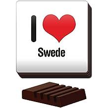 I Love sueco Juego de 4posavasos de madera soporte 2734