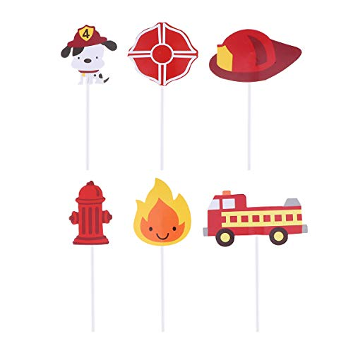 ehrmann Cupcake Topper Feuer Cupcake Topper für Feuerwehr Geburtstag Baby Dusche Dekorationen ()