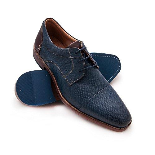 Zerimar Herren Lederschuh Komfortabler Schuh mit Flexibler Gummisohle Leder Casual Schuh für Den Mann Hochwertige Leder Schuhe Elegant 100% Leder Farbe Marine Blau Grösse: 42