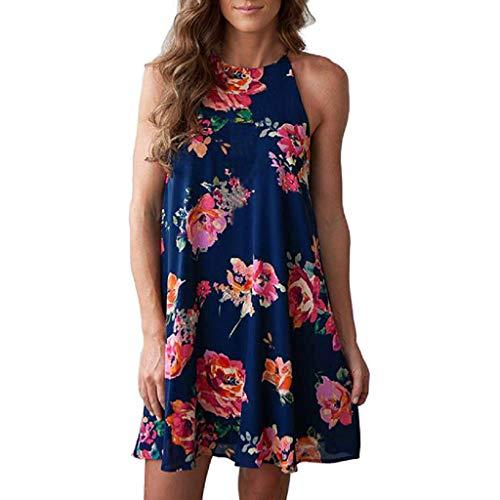 (Women Sleeveless Halter Neck Boho Print Casual Mini Beachwear Dress Sundress, Spring Sale)