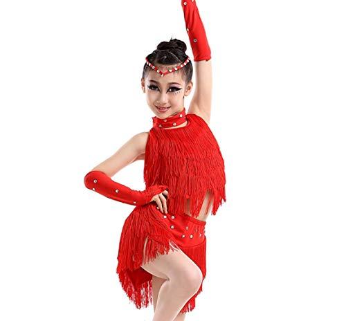 Kostüm Akrobatik - ZYLL Kinder Latin Dance Kostüme Mädchen Quasten Kinder Performance Kostüme Pailletten Wettbewerb Tests Akrobatik Kostüme Gelb Rot Blau,Red,170CM