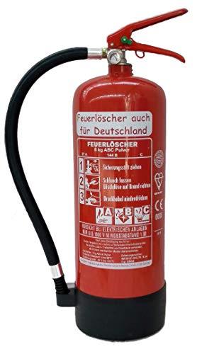 Feuerlöscher 6kg ABC Pulverlöscher mit Manometer EN 3 , Prüfnachweis mit Jahresmarke , Messingarmatur Sicherheitsventil , ( Mit Kunststoffstandfuß ohne Wandhalter ohne Prüfnachweis u. Jahresmarke )