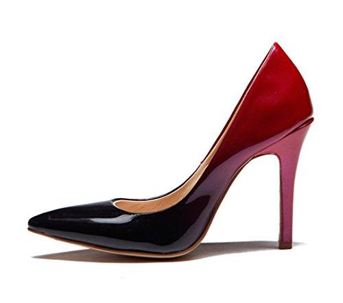 TDA , Sandales Compensées femme noir/rouge