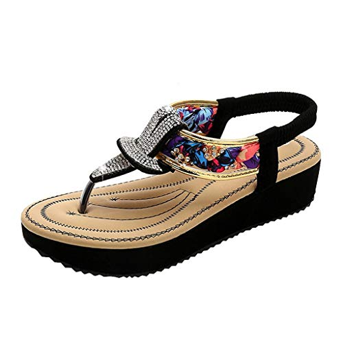 BaZhaHei Etnico Stile Sandali Estivi Donna Eleganti Bassi,Moda Sandali Donna Con Zeppa Sandali Infradito Sandali da Spiaggia Roma Scarpe Casual Donna Estive (35-41)