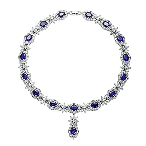 Aooaz Damen Silber Halskette Versilbert Blumen Strass Kette Anhänger Cluster Blau Kristall Anhänger Halskette Verlobung