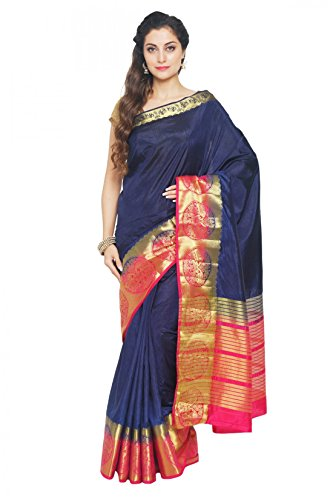 Madisar Mami Tussar Silk Sarees (Blue with Pink Border)