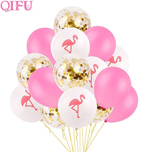 Uniqus QIFU 15 Stück Party Einhorn Geburtstag Luftballons Air Pink Flamingo Dekoration Latex Ballon Hochzeit Die Kleine Meerjungfrau Party Supplies
