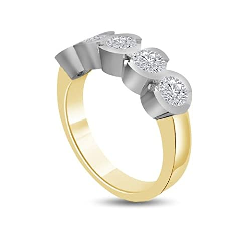0.80ct H/SI1 Diamond Half Eternity Ring for Women with Round Brilliant cut diamonds in 18ct White Gold & Yellow