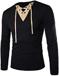 BUSIM Men's Long Sleeved Shirt Fashion Suede Stitching Solid Color Casual Tape Personality T-Shirt Top Slim Trend...