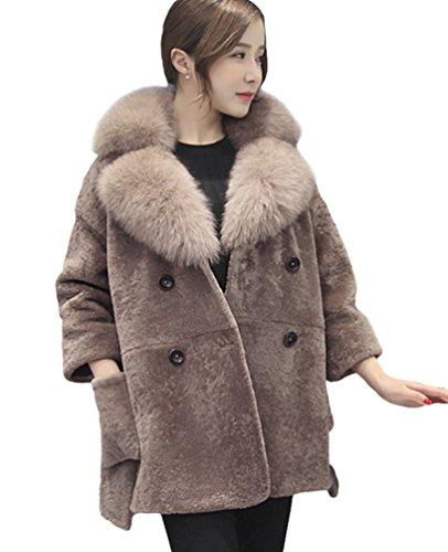 Chengyang donna caldo giacca lungo giaccone pelliccia sintetica cappotto maniche lunghe (marrone, s)