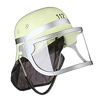 Fireman Helmet Kids, Adjustable, Flip Down Visor, Neck Cloth, Fire, H x W x D: 24.5 x 22.5 x 28 cm, Yellow