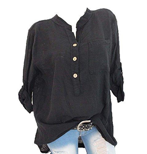 Hibasing Camisas de Verano de Las Mujeres Camisas Roll Up Sleeves Blusa de Bolsillo Suelta V Cuello Tops Camiseta