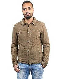 BARESKIN Men's Olive Color Butoned Suede Leather Jacket