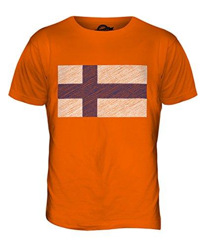 CandyMix Finnland Kritzelte Flagge Herren T Shirt Orange