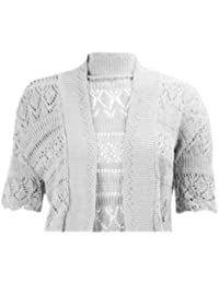 effc9406a0e45a My Fashion Store WOMEN LADIES BOLERO CROCHET KNITTED SHRUG SHORT CAP SLEEVE  UK SIZE 8-