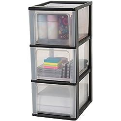 Iris Ohyama, tour de rangement 3 tiroirs - Organizer Chest - OCH-2300, plastique, noir/transparent/transparent, 39 L, 26 x 35,5 x 60,2 cm