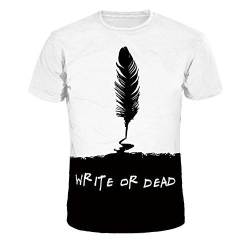 Männer O-Ansatz Kurzarm 3D Digital Print Feder Stifte Design Sommer T-Shirts Paar T-Shirts(Schwarz,XL)