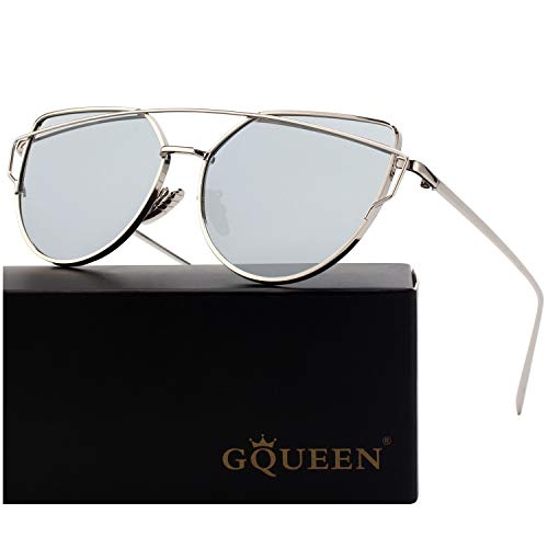 GQUEEN Mode Polarisierte übergroße Katzenaugen CatEye Sonnenbrille Damen Frau Gespiegelte Verspiegelt Linse Metallrahmen Cat Eye Sunglasses MT3...