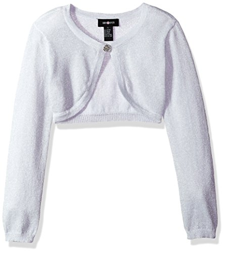 Ein Byer Kleider (Amy Byer Big Girls' Long Sleeve Metallic Cardigan, Silver, L)