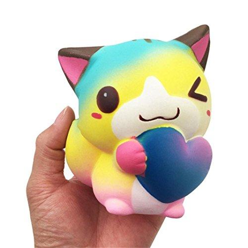Jumbo Stress Relief Toys mingfa Cute weich Cartoon Herz Katze Fox Animal Squeeze Dekompression Spielzeug für Kinder Erwachsene Cure Geschenk (Lustige Halloween-lebensmittel Cartoons)