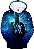 OLIPHEE Herren Kapuzenpullover 3D Bedruckte Alan Walker Hoodie mit Taschen Blau Galaxy L