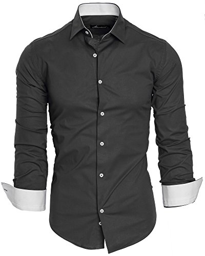 Amaci&Sons Herren Slim Fit Hemd Bügelleicht Business Freizeit Shirt 50002 Anthrazit L