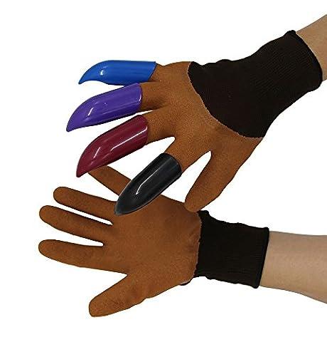 Garten Genie Handschuhe; eingebautes Rechte Hand Krallen Handschuhe Schnell und einfach zu Dig & Plant Pflanzen, -as Seen on TV, Garten Arbeiten Zubehörs von yakey, Colorful Coffee, Einheitsgröße