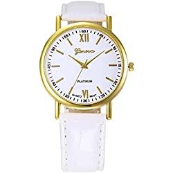 WINWINTOM Roman Numerals Faux Leather Analog Quartz Wrist Watch White