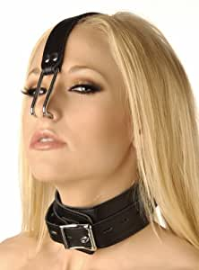 Strict Leather Bondage Collar with Nose Hook