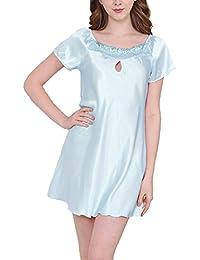 TT Global Mujer Pijama Sin Mangas Cordón Vestido Para Dormir Telas Lisas Talla Grande Camisón Suelto