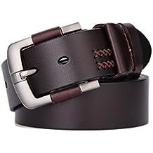 Weinida Full Grain Hombres Negocio Vestimenta Casual Ropa Cinturón de Cuero  Cinturones hecho a mano 38mm f08b41774264
