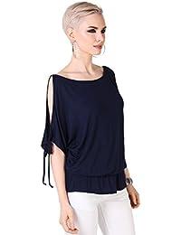 KRISP® Women Oversized Blouse Split Off Shoulder Batwing Tops Winter
