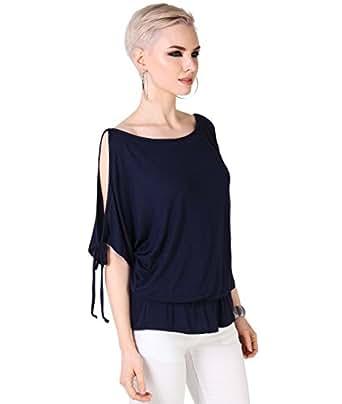 3895-NVY-08: Tunique Top Manches Kimono Ouvertes [Bleu,36]