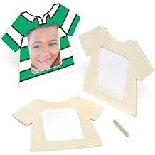 Marcos de fotos de madera en forma de camiseta que los niños pueden personalizar, decorar y regalar por el Día del Padre (pack de 3).