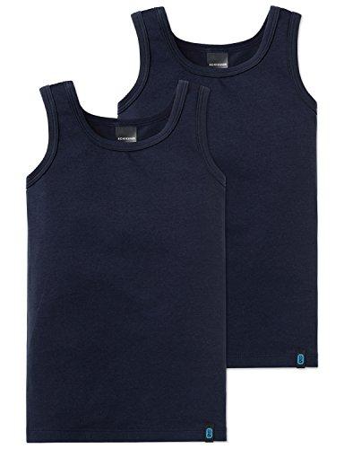 Schiesser Jungen Unterhemd 95/5 2pack Hemd 0/0, 2er Pack, Blau (Nachtblau 804), 104 (Kiste Pan)