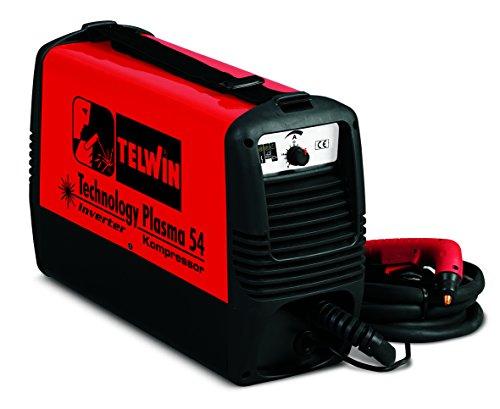 TELWIN Technology Plasma 54 Plasmaschneider mit integriertem Kompressor, 230V Inverter-Technik, Set inkl. Plasma-Schlauchpaket und Masseanschlussgarnitur