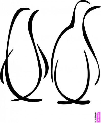 Wandtattoo: Elegantes Pinguin-Duo _ 47 x 35cm Schwarz -