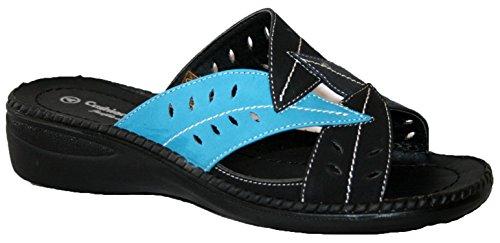 Damen Cushion Walk leicht Sommer Mule mit Blatt Design Schwarz / Blau
