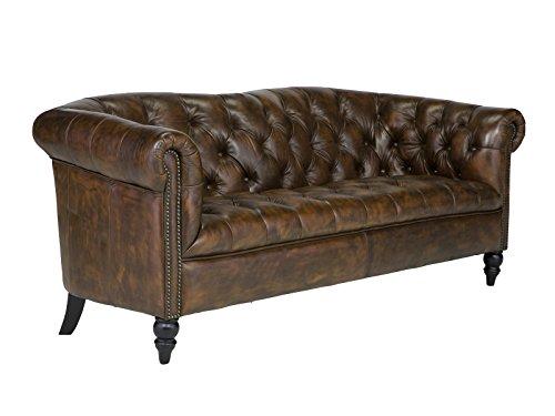 massivum Sofa Chesterfield Derry 3-Sitzer 195x75x85 cm Echt-Leder braun Couch im englischen Stil mit Federkern-Polsterung